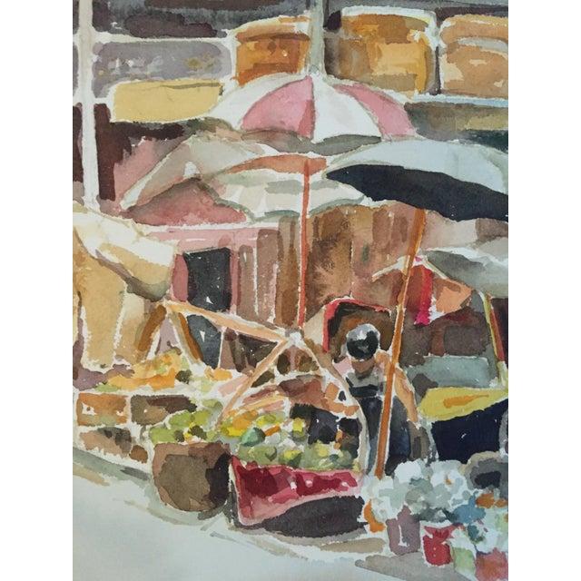 Thelma Moody Gouache Farmer's Market Painting - Image 2 of 7
