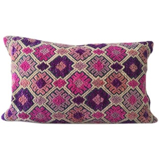 Vintage Chinese Embroidered Lumbar Pillow