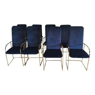 DIA Brass Navy Velvet Dining Arm Chairs - Set of 12