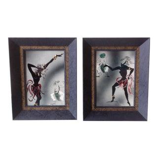 Irina Lorin Framed Ceramic African Dancer Tiles - A Pair
