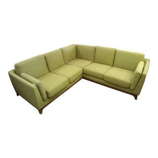 Mid-Century Style Corner Sectional Sofa, Sea Grass Color Fabric, Walnut Base
