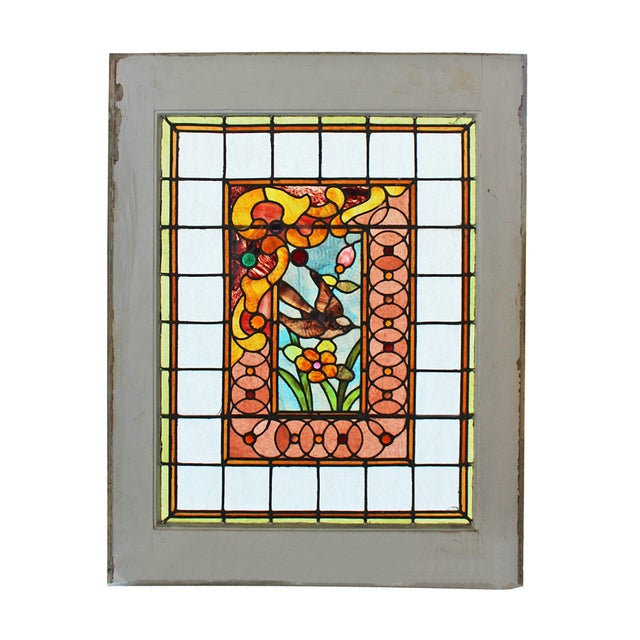 Image of Antique Stained Glass Window With Sparrow Motif