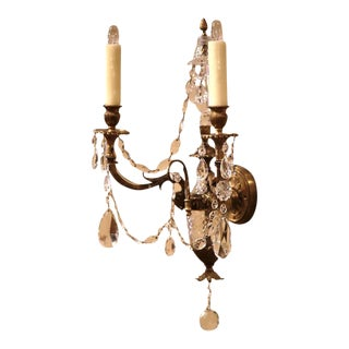 French Louis XVI Bronze & Cut-Glass Sconces - A Pair