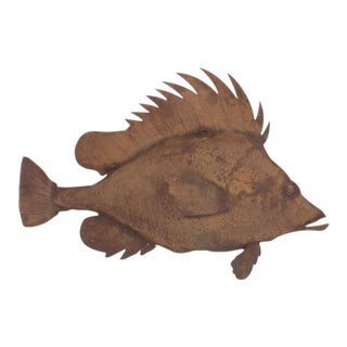 Lifesize Mid-Century Metal Sculpture of a Snapper
