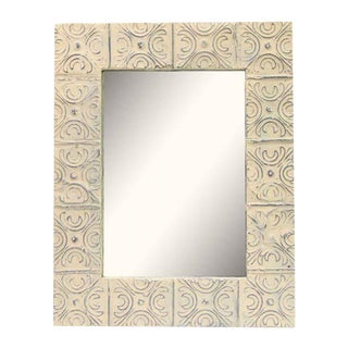 Cream Tin Mirror with Snowflake Pattern