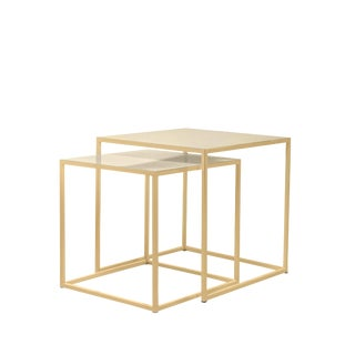 Patrick Cain Designs Frisco Brass Nesting Tables - A Pair