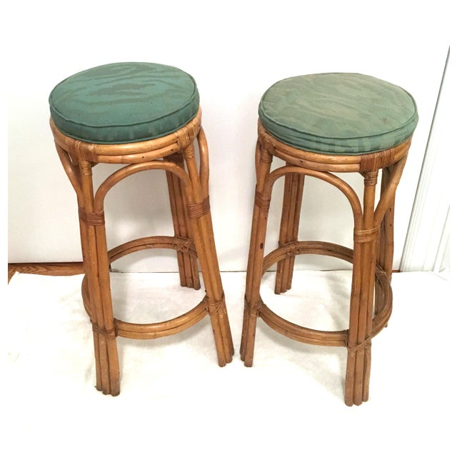 Vintage Rattan Stools or Plant Stands - a Pair - Image 2 of 7