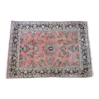Vintage Pink Wool Rug - 3′4″ × 4′10″