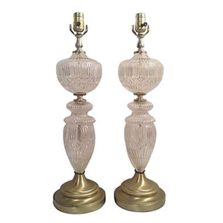 Antique Frosted Pressed Glass Table Lamps - a Pair