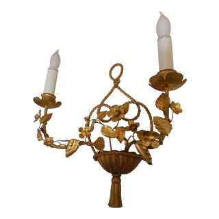 Italian Gilt Wall Sconce Lamp 1 of Pair