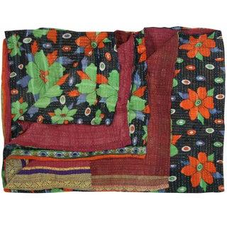 Vintage Teal and Orange Daisy Kantha Quilt