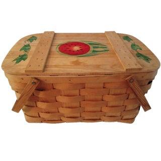 Vintage Vermont Stenciled Picnic Basket