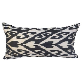 Black & White Silk Ikat Pillow
