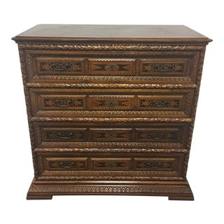 Vintage Carved & Inlaid 4 Drawer Dresser