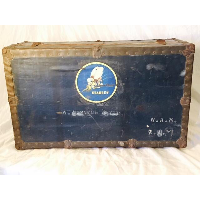 Antique Original WWII Seabees Trunk - Image 2 of 5