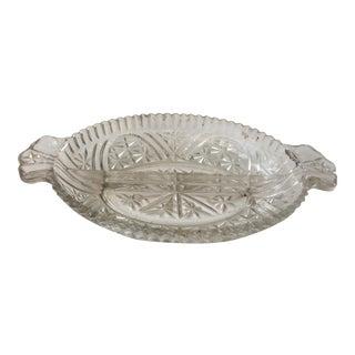 Mid-Century Cut Glass Condiment Dish