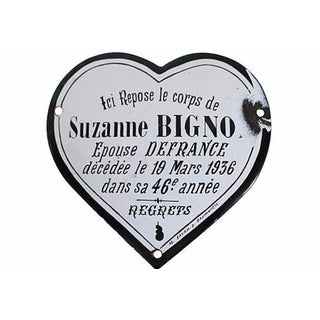 1936 French Enamel Heart Shaped Memorial Plaque