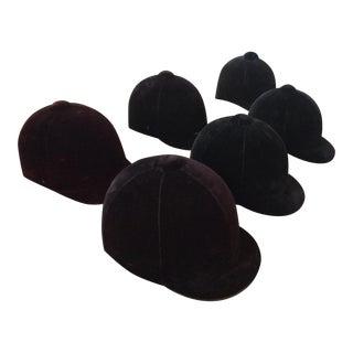 Vintage Velvet Equestrian Helmets - Set of 6