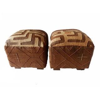 Upholstered Brown Kuba Ottomans - A Pair