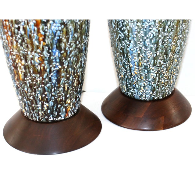 Mid-Century Modern Pottery Lamps - a Pair - Image 2 of 7