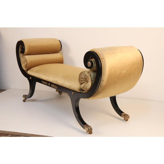 Regency Black Lacquer Bench - Image 4 of 4