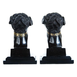 Antique English Bronze Bulldog Bookends