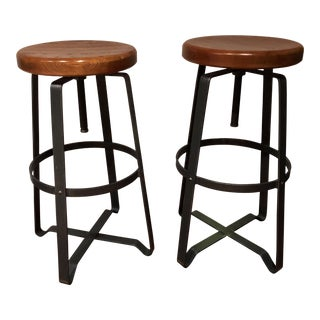 West Elm Adjustable Industrial Stools - A Pair