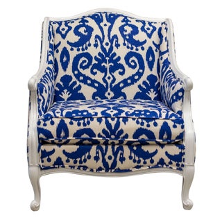 Blue &White Ikat Damask French Provincial Armchair