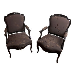 Elisabeth Weinstock Antique Louis XV Arm Chairs - A Pair