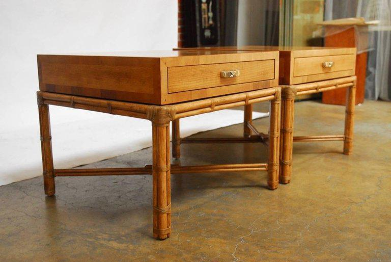Mid Century Faux Bamboo End Tables By Henredon   A Pair   Image 8 Of