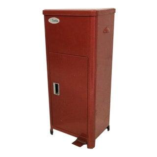 Vintage Red Metal Trashcan