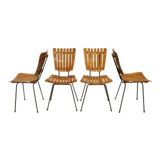 Mid Century Wood Slat Dining Chairs By Arthur Umanoff