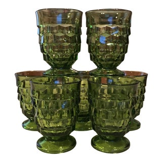 Mid-Century Green Faceted Pedestal Glasses - Set of 7