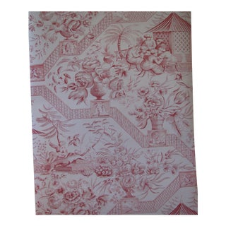 Schumacher Vintage Williamsburg Collection Chinoiserie 'Asian Toile' in Red Wallpaper - Double Roll