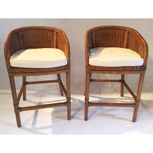 Contemporary Wicker Barstools - Pair - Image 2 of 5