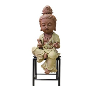 Chinese Handmade Ceramic Cute Kwan Yin Figure cs2596