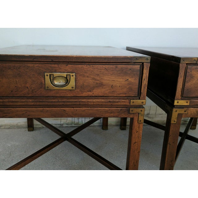 Vintage Heritage Campaign Style Nightstands- A Pair - Image 3 of 4