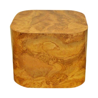 Vintage Faux-Burlwood Cube Table