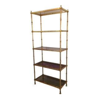 Maison Jansen Hollywood Regency Gold Gilt Etagere