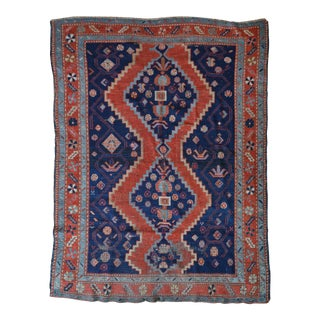 "Royal Blue Field Antique Kazak Rug - 4'9"" x 6'3"""