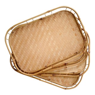 Bamboo & Wicker Serving Trays - Set of 4