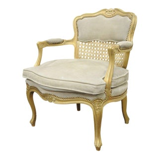 Italian Fratelli Boffi French Louis XV Style Gold Suede Cane Back Bergere Arm Chair
