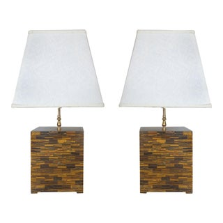 Tessellated Tigers Eye Table Lamps - a Pair
