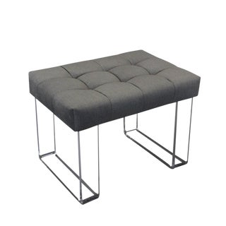Infinity Style Gray Velvet and Lucite Bench