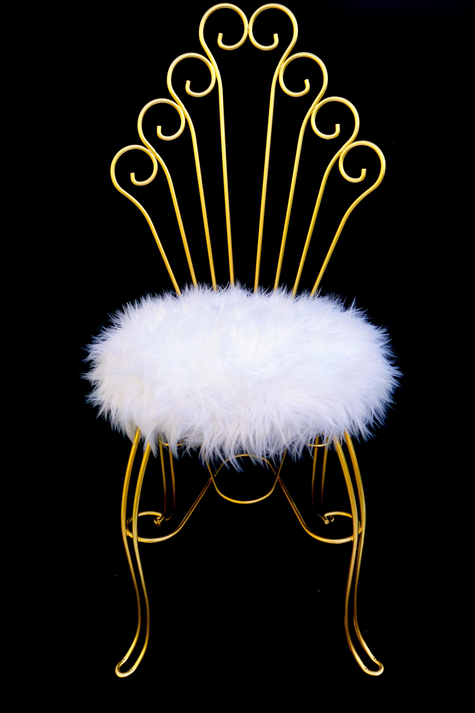 Vintage Hollywood Regency Gold Metal U0026 Faux Fur Vanity Chair   Image 3 Of 11