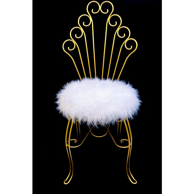 Vintage Hollywood Regency Gold Metal & Faux Fur Vanity Chair ...