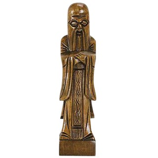 Mid-Century Confucius Wood Carving