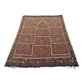 Naturally Dyed Antique Turkish Kilim Rug - 54″ X 68″