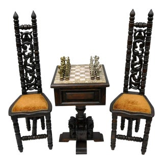 Carved Mexican Renaissance Mediterranean Onyx Board 2 Chair Chess Game Table Set