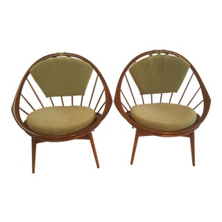 Ib Kofod- Larsen for Selig Mid-Century Hoop Lounge Chairs - A Pair